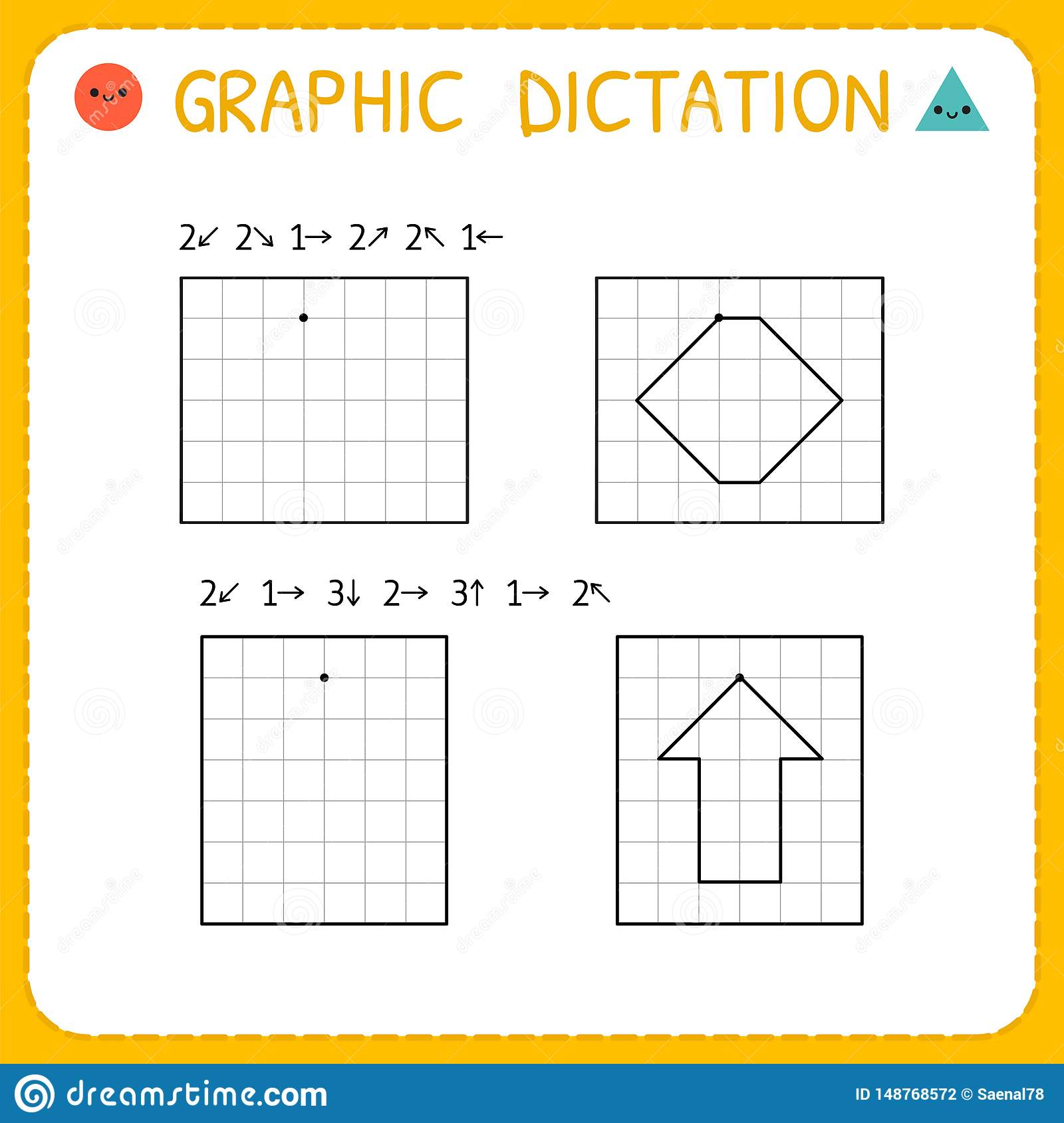 Graphic Dictation Preschool Worksheet For Practicing
