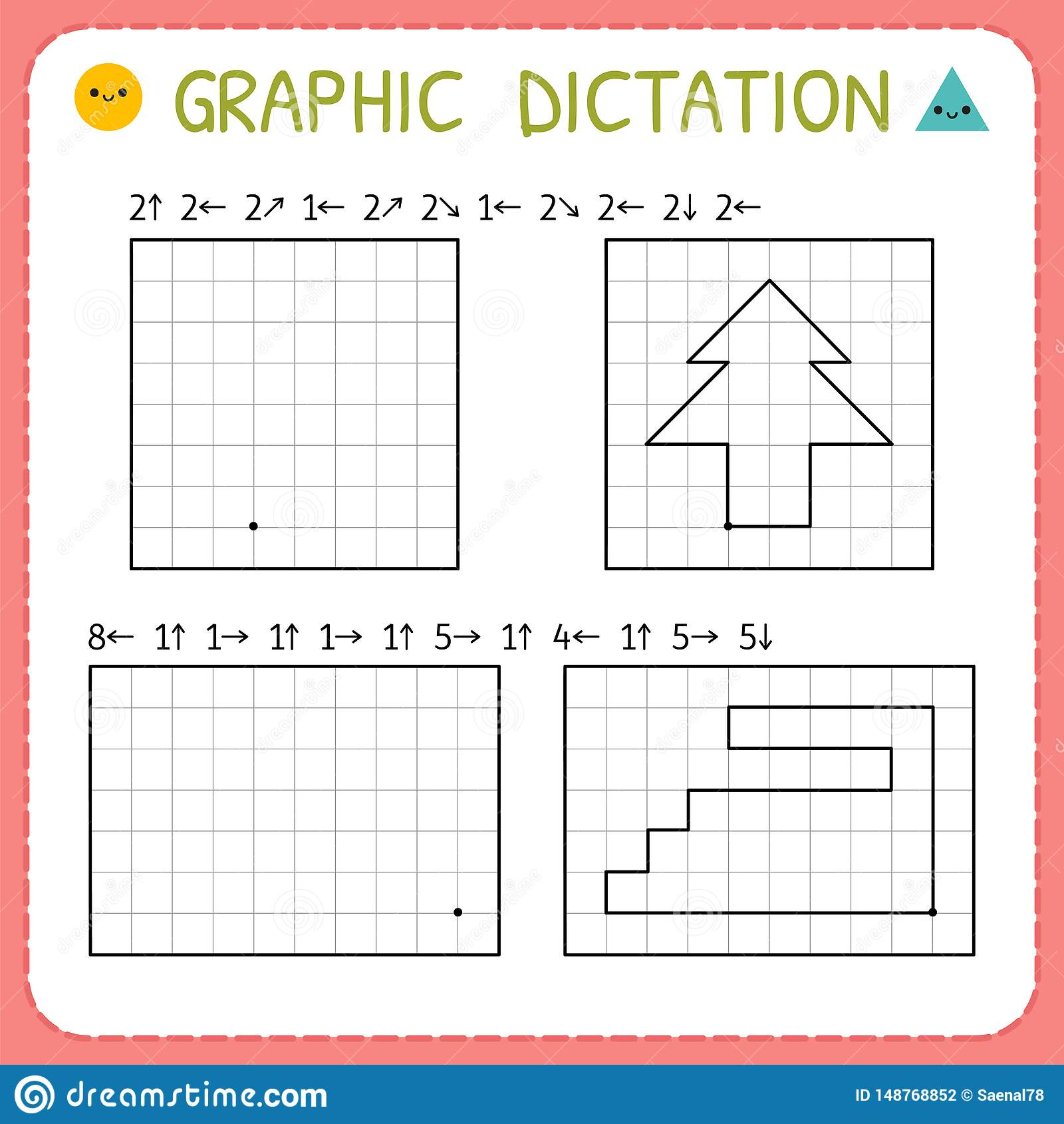 Graphic Dictation Preschool Worksheets For Practicing