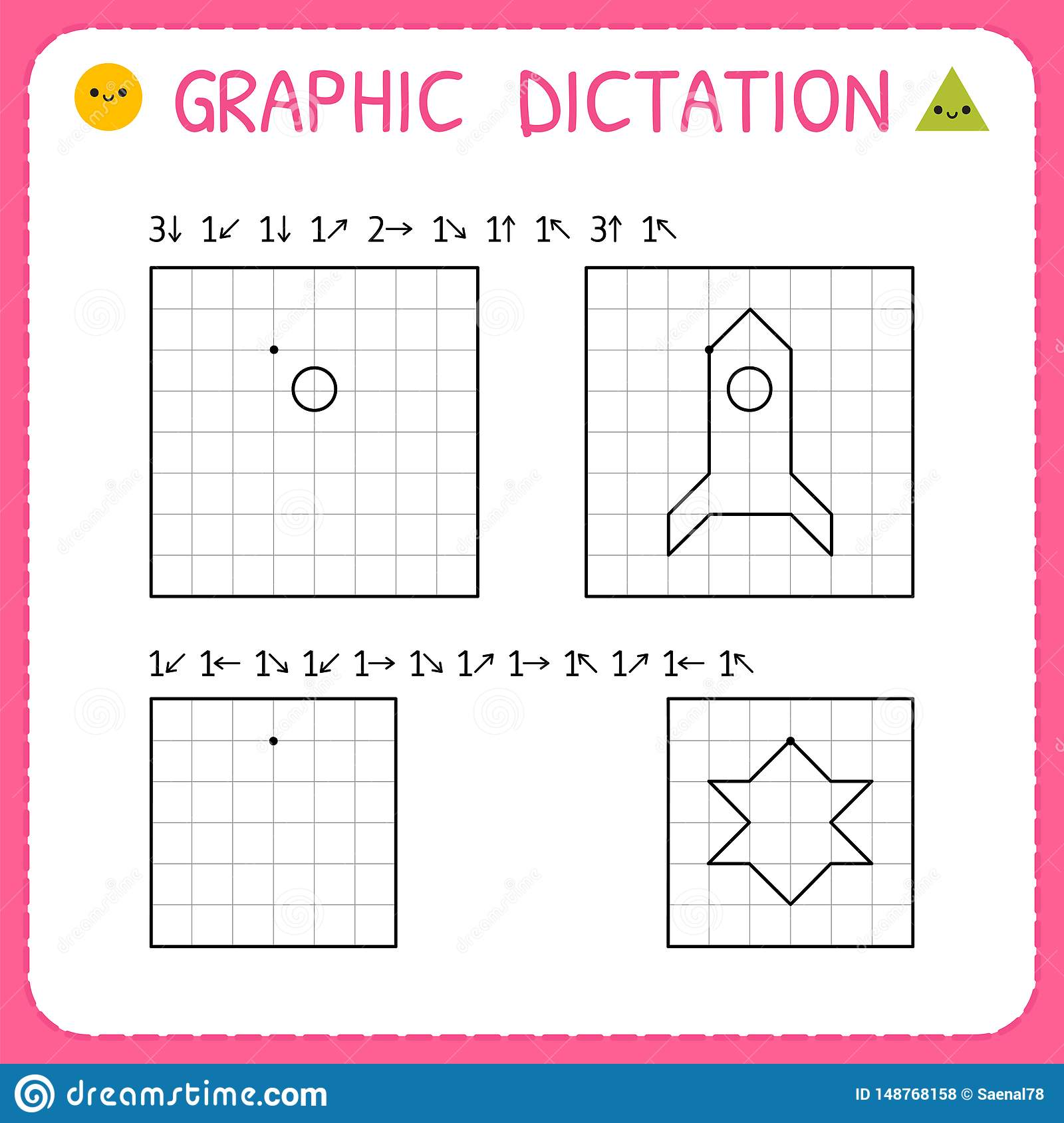 Graphic Dictation Working Pages For Children