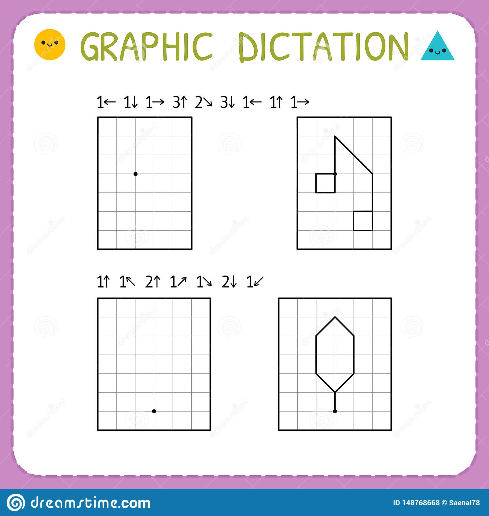 Graphic Dictation Working Pages For Children Preschool