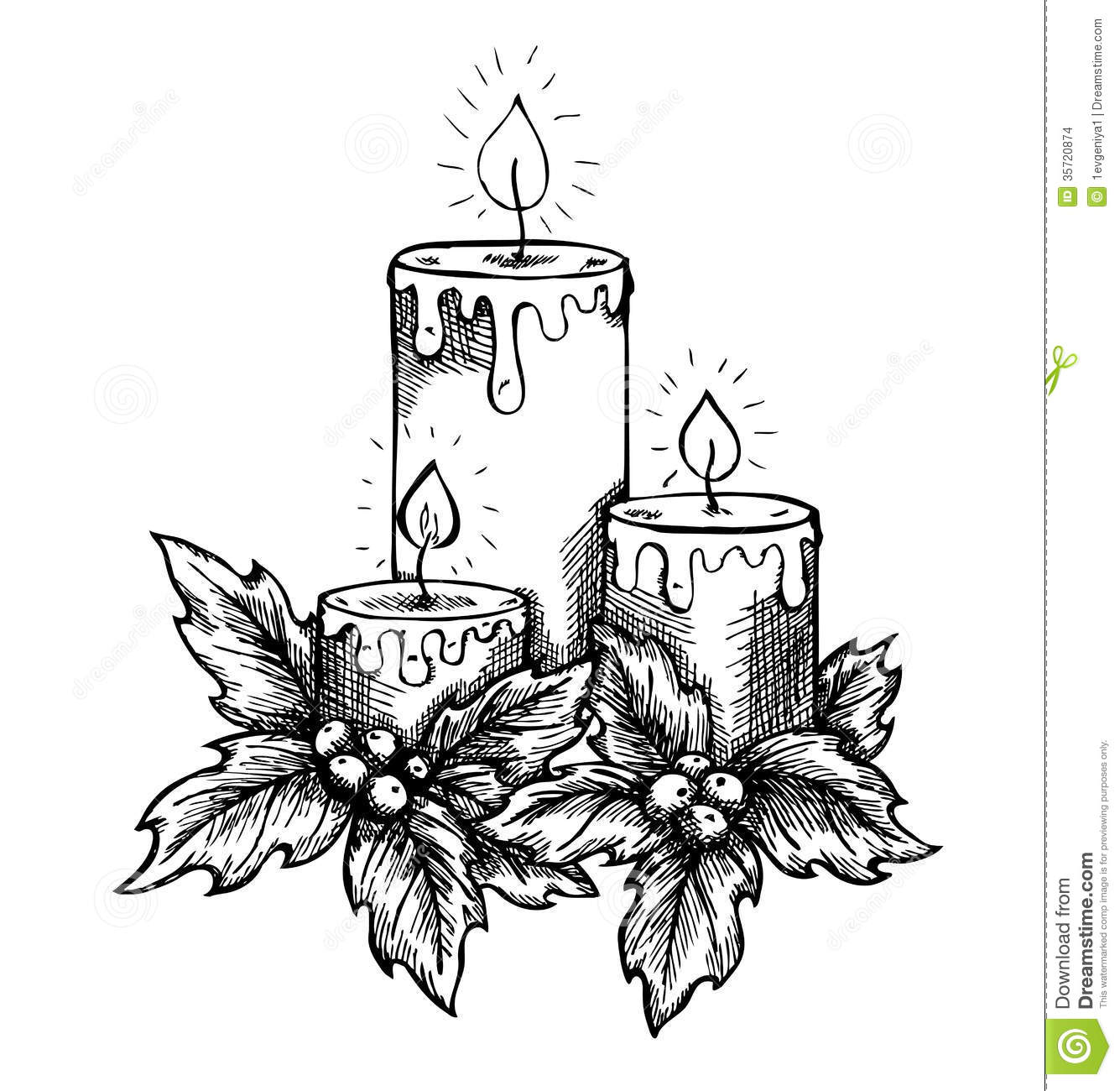 Graphic Drawing Candles And Holly Berries And Leav Stock