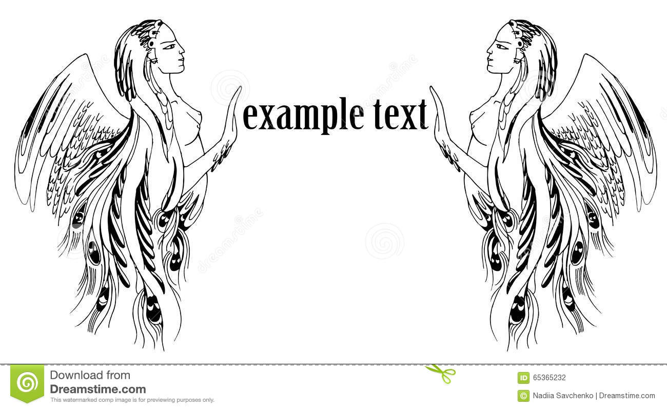 Graphic Illustration Of A Woman With Wings Framing Text