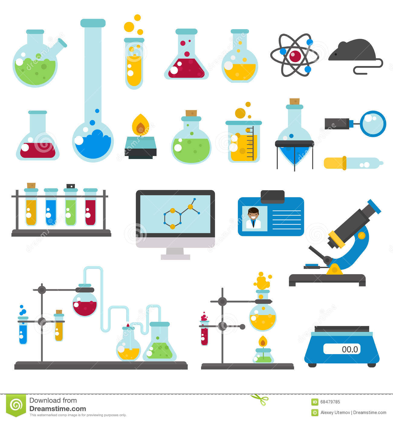 Graphic Set Chemical Laboratory Science Flat Vector Stock