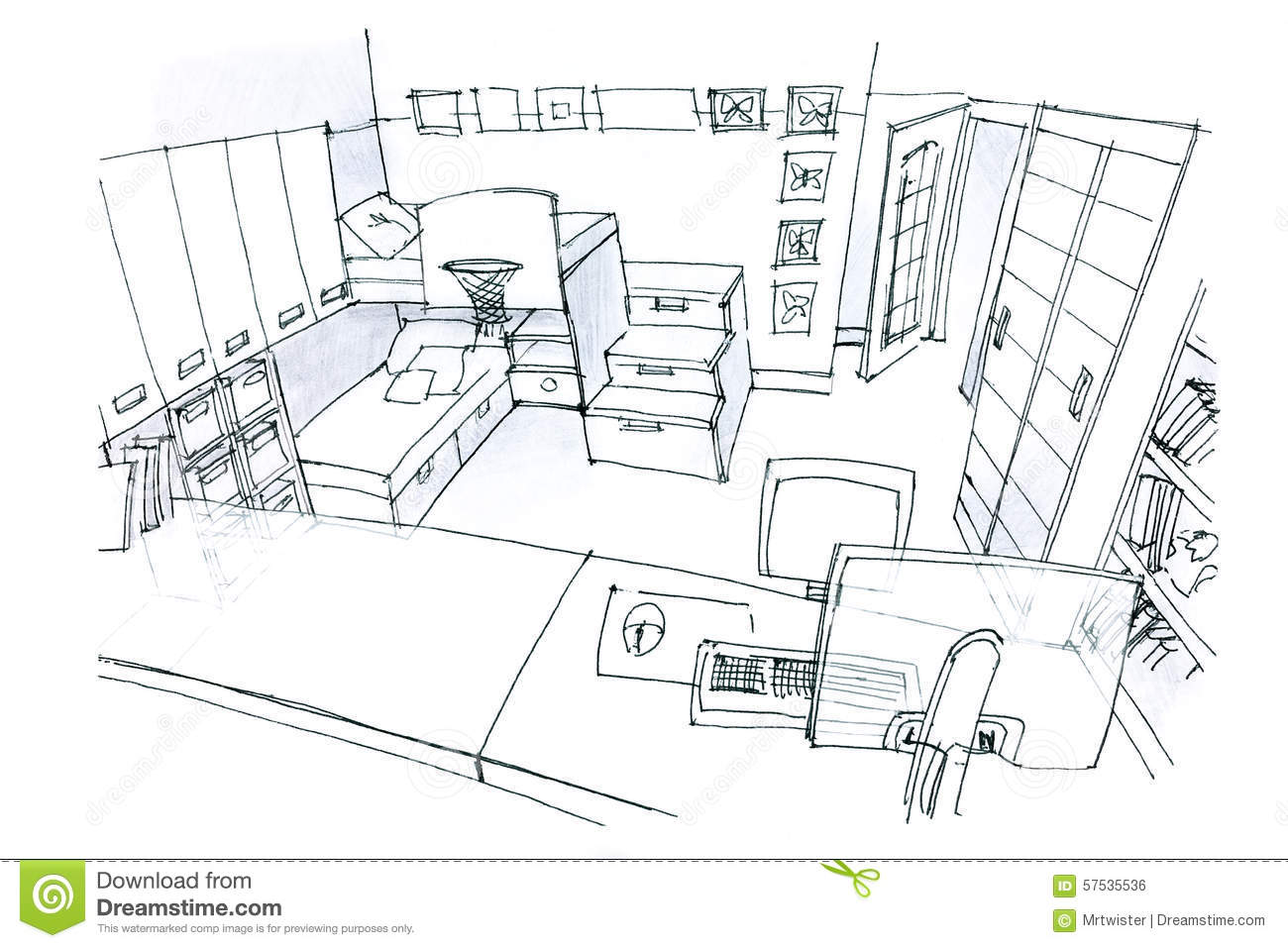 Drawing In Black And White Of An Idea For Kids Room With