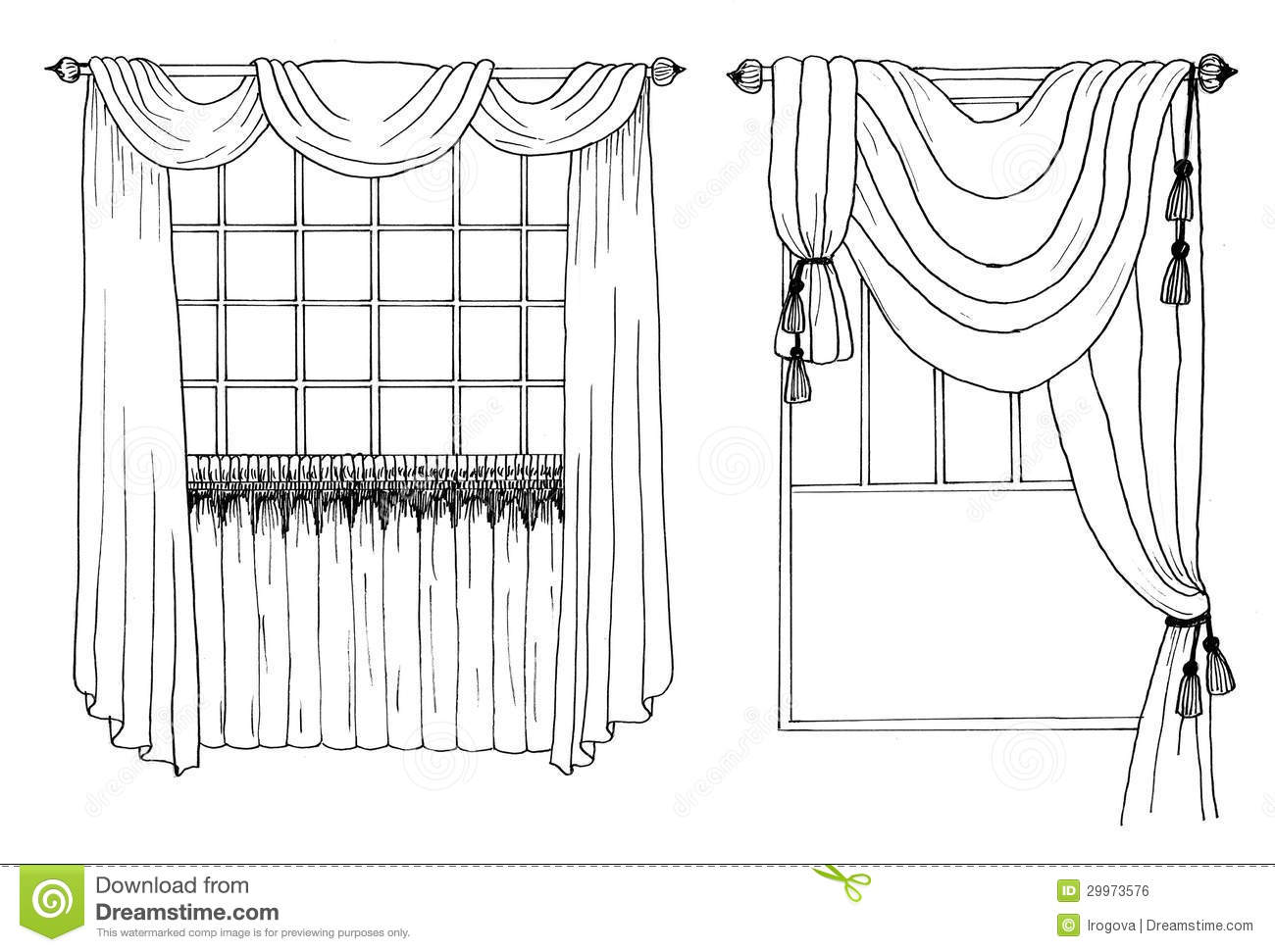 Graphic Sketch D Ry Curtain Royalty Free Stock Image