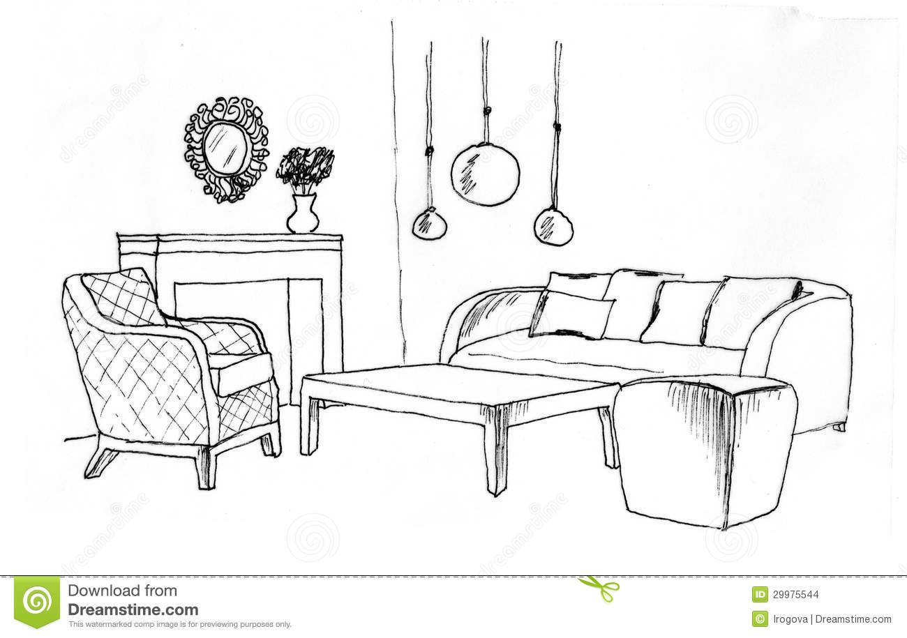 Graphical Sketch Of An Interior Living Room Stock