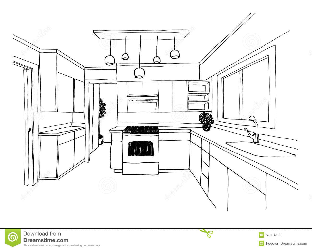 Graphical Sketch The Kitchen Stock Illustration