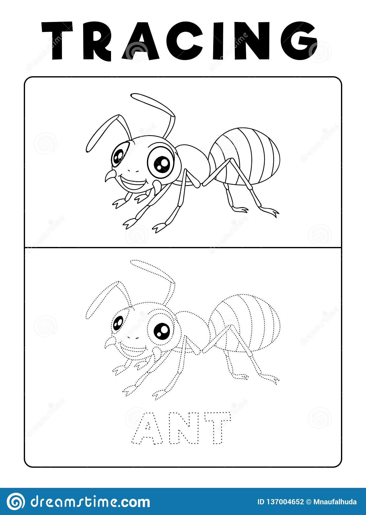 Grappig Ant Insect Animal Tracing Book Met Voorbeeld