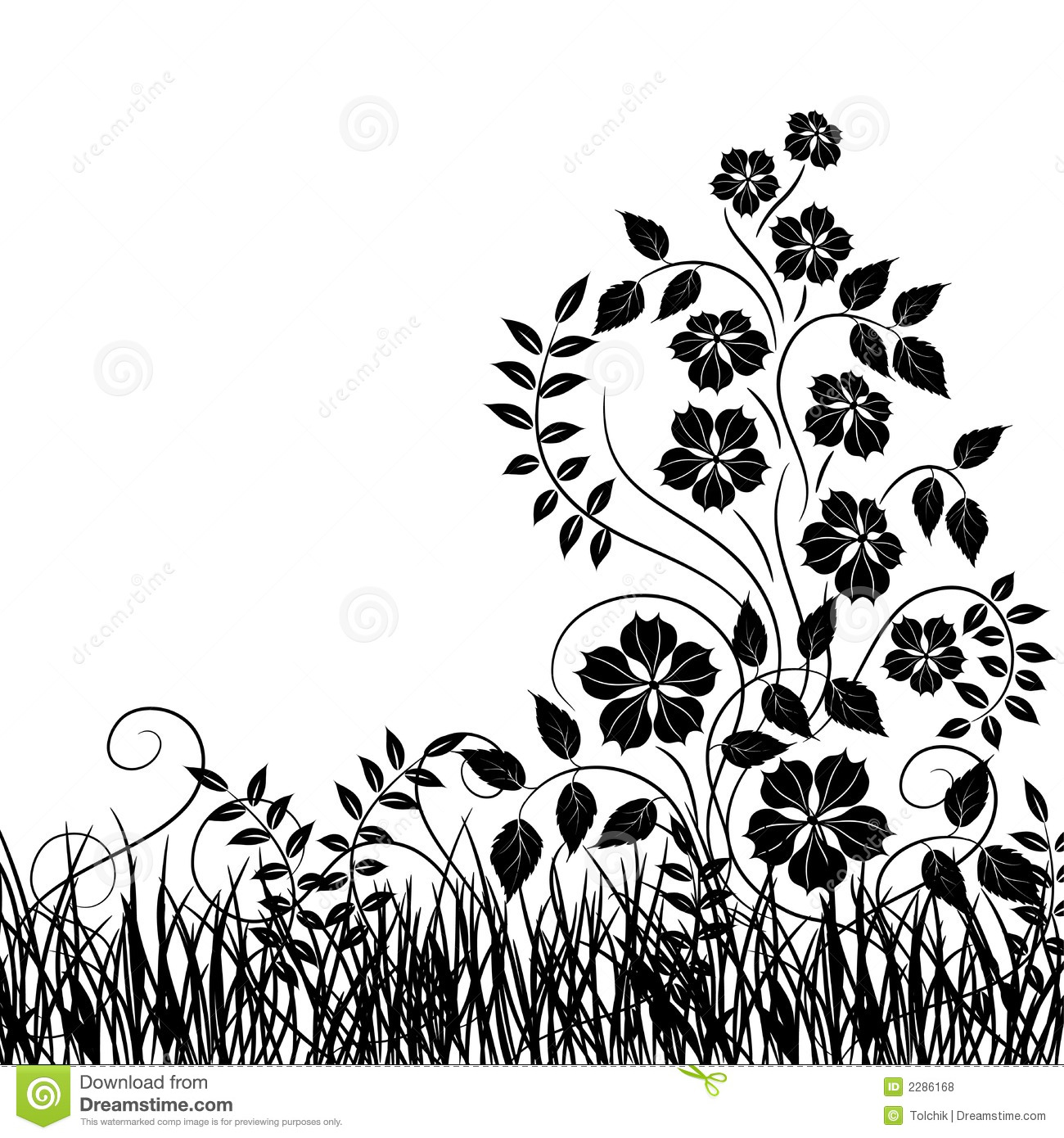Vector Grass And Flower Vector Illustration