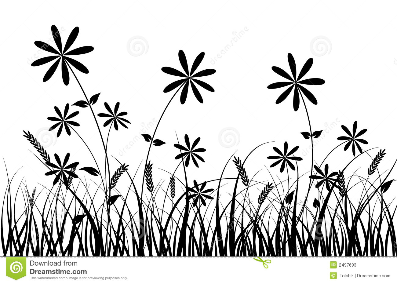 Grass And Flower Vector Stock Vector Illustration Of
