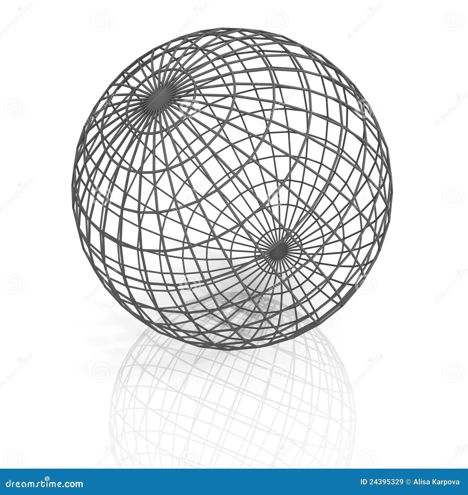 Gray Lattice Sphere On White Background Stock Illustration