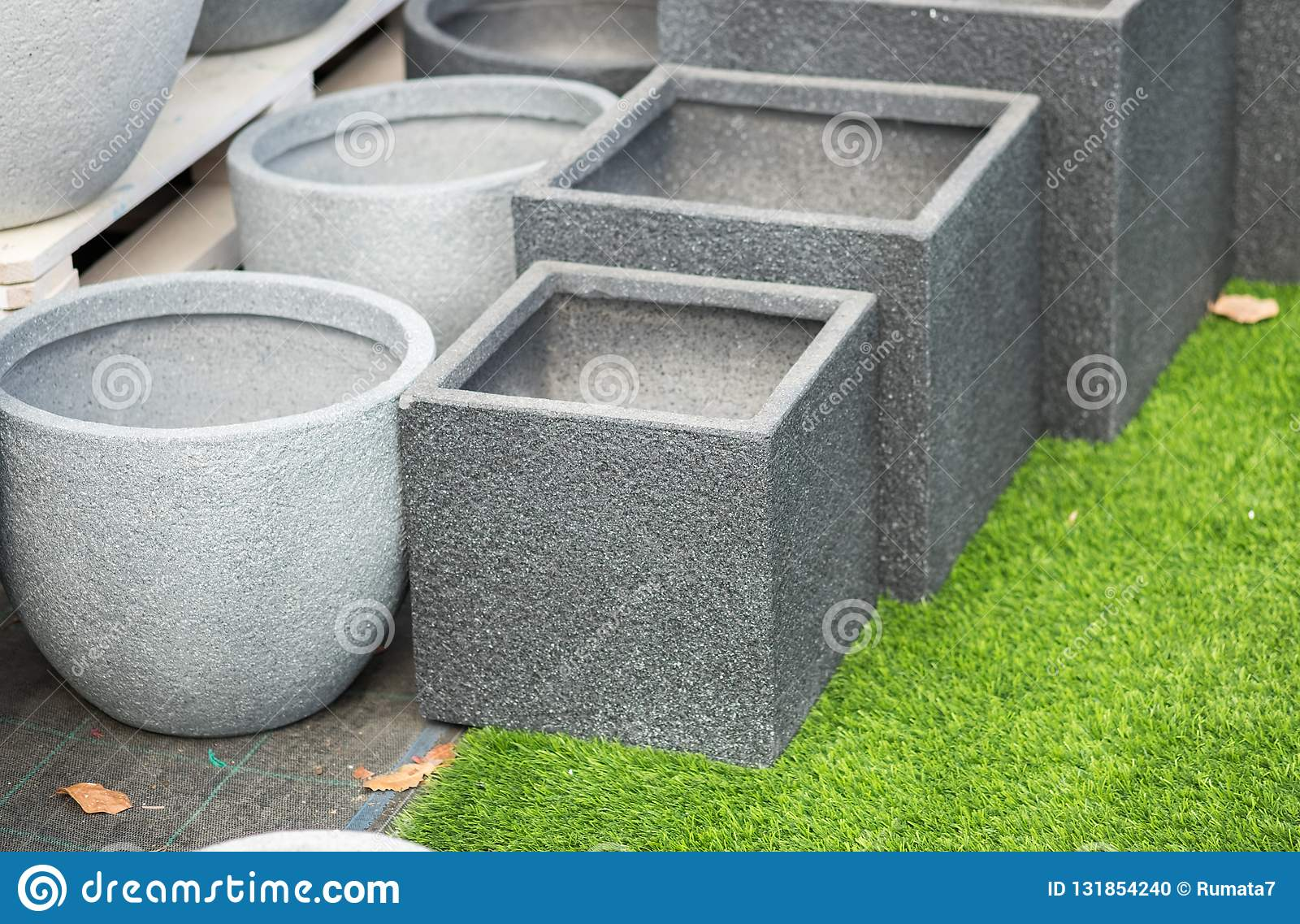 Gray Round And Square Stone Flower Pots For Sale Stock Photo Image Of Garden Display 131854240