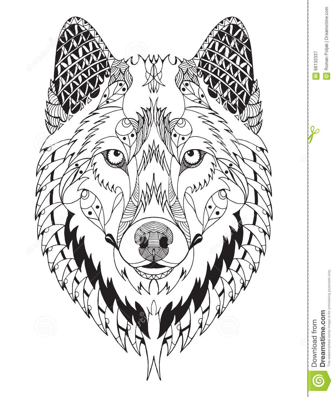 Gray Wolf Head Zentangle Stylized Vector Illustration