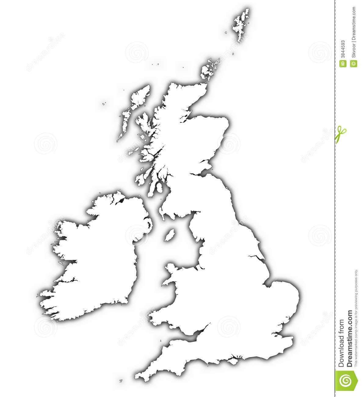 Great Britain Map With Shadow Stock Photos
