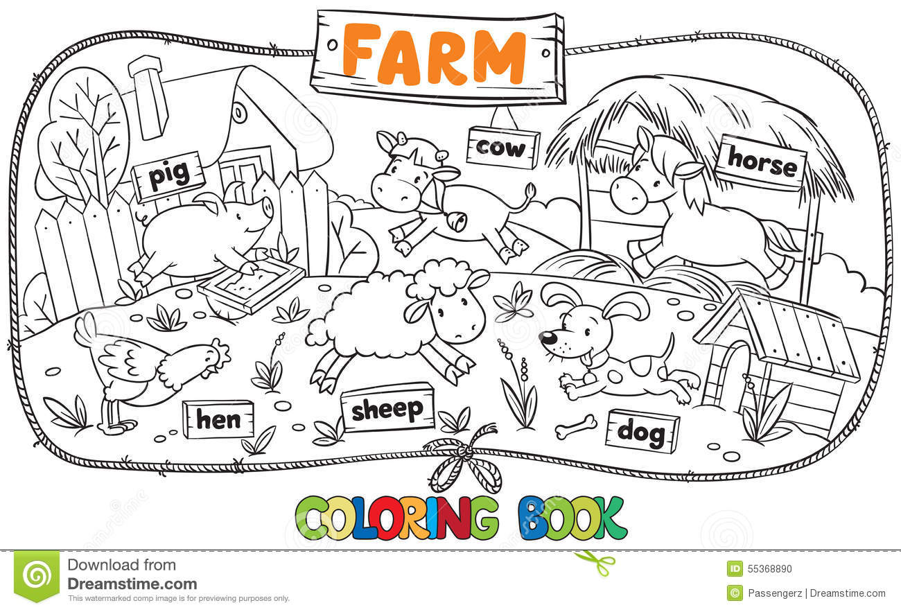 Great Coloring Book With Farm Animals Stock Vector Image