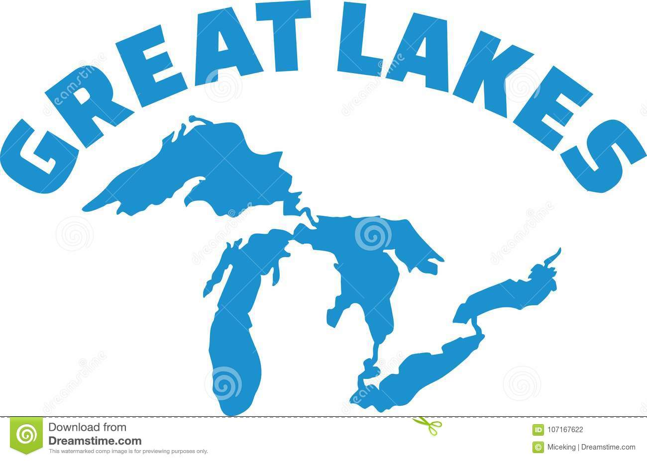 Great Lakes Silhouette With Name Stock Vector