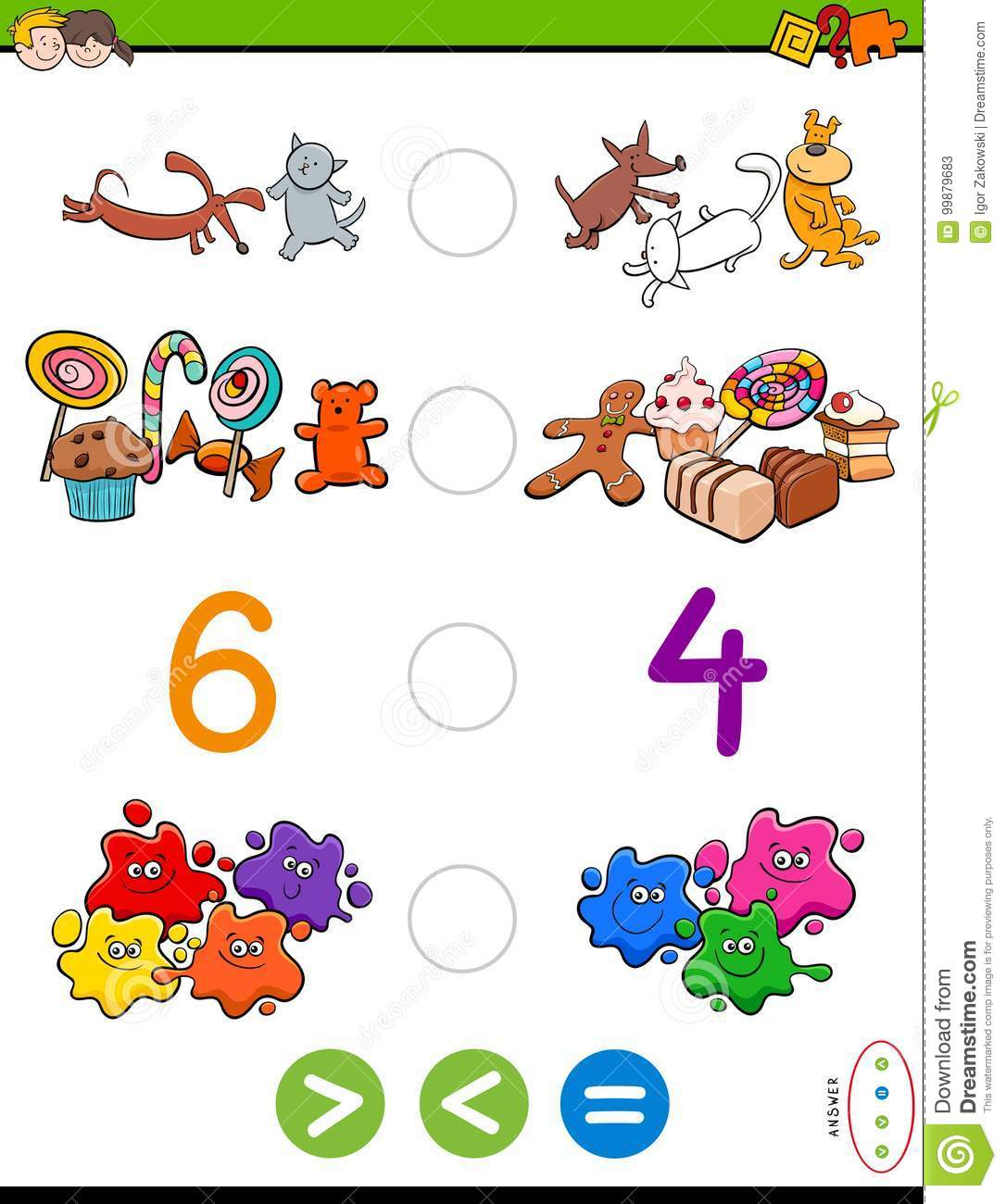 Greater Less Or Equal Cartoon Game Stock Vector