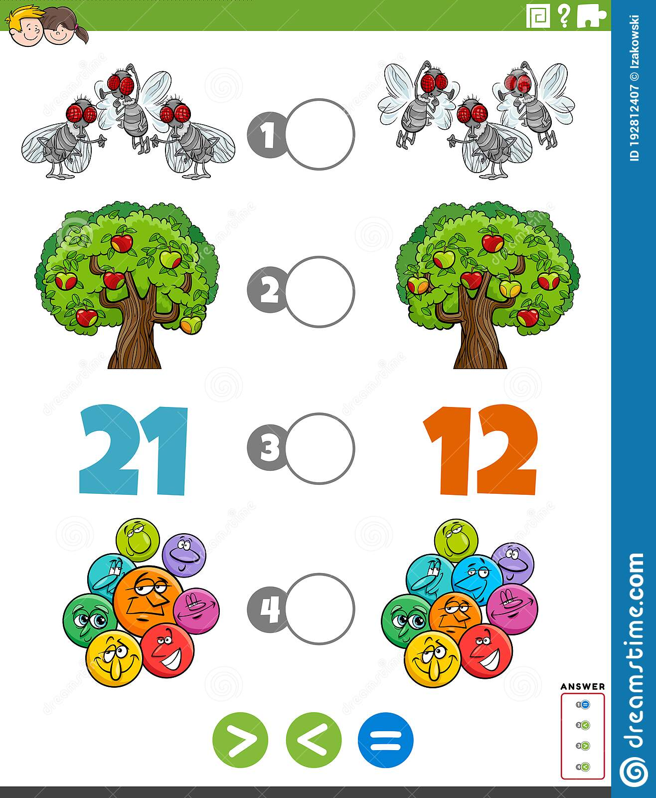 Greater Less Or Equal Task With For Children Stock Vector