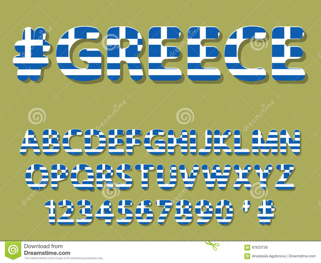Greece Font Alphabet And Numeral Stock Vector