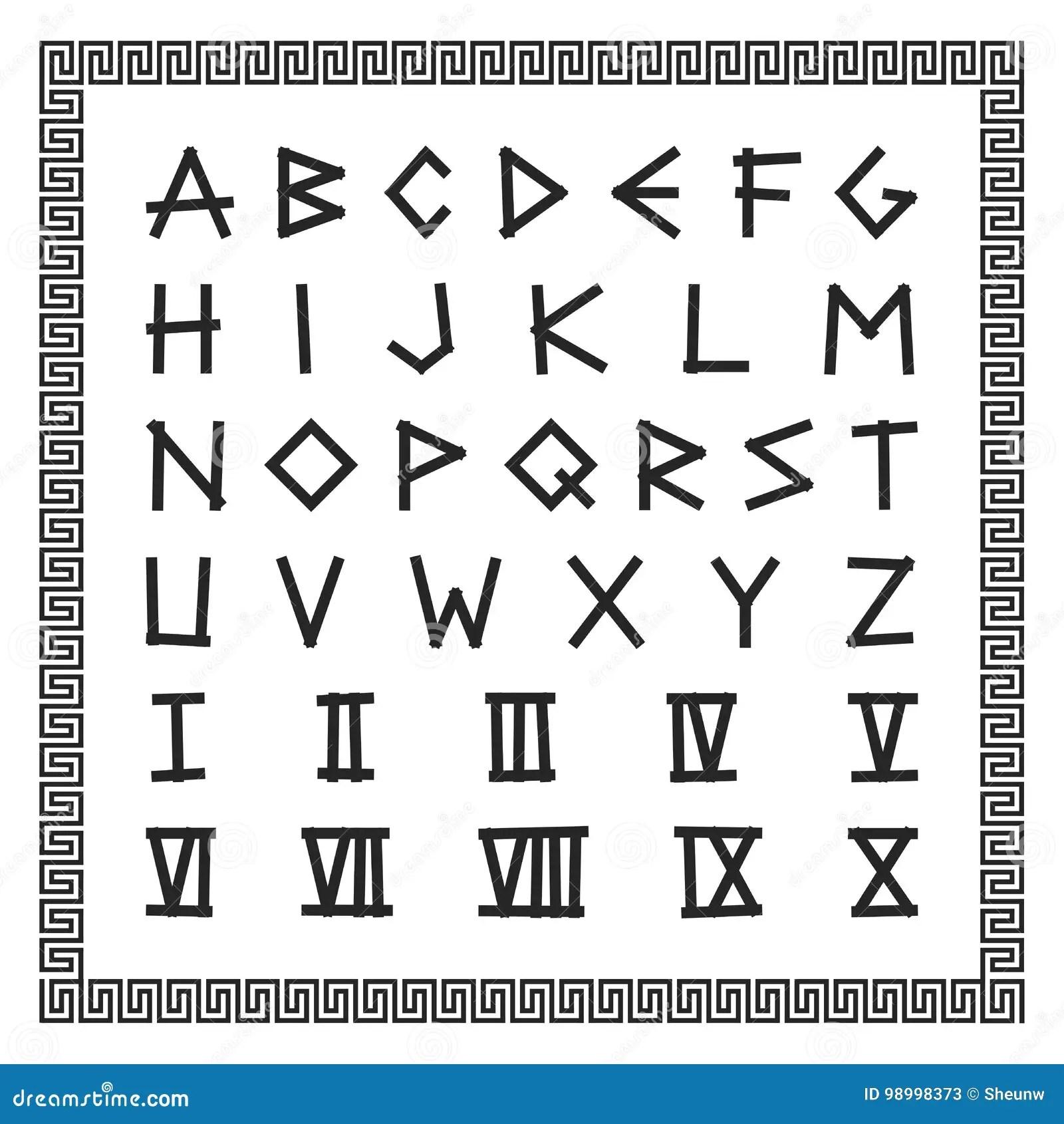 Greek Font Vector English Alphabet Ancient Latin Letters