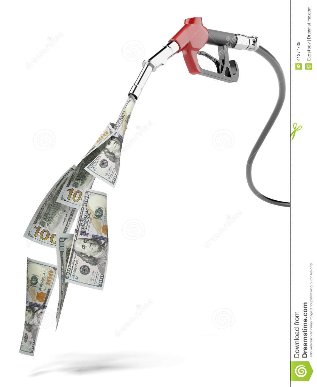 Green Fuel Nozzle With Dollars Stock Illustration