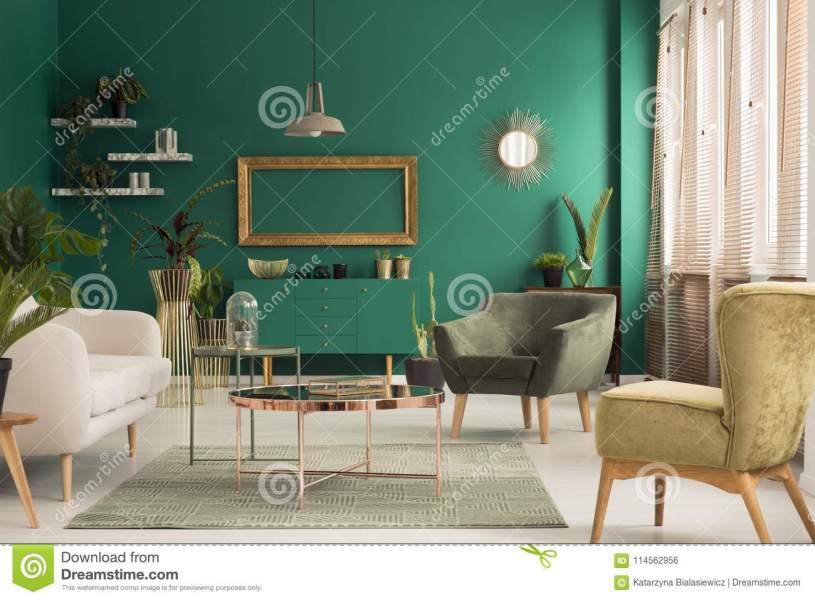 Green and gold living room stock photo  Image of green   114562956 Download Green and gold living room stock photo  Image of green   114562956