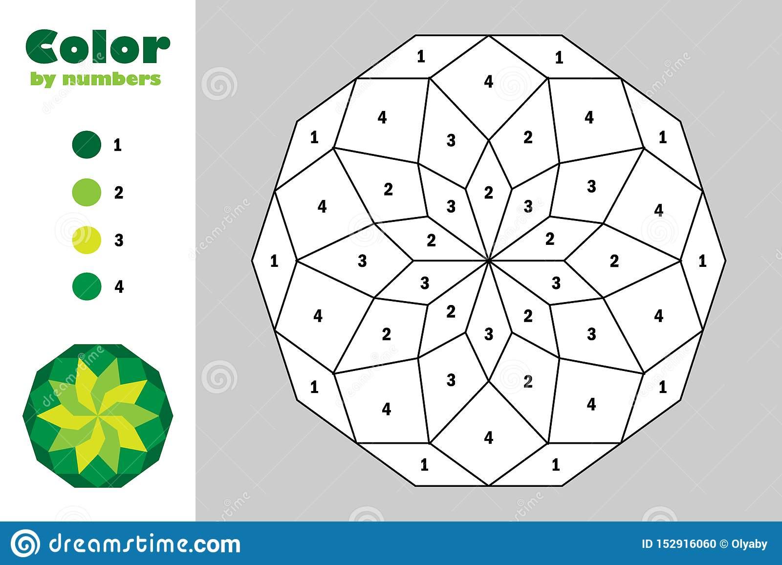 Green Mandala In Cartoon Style Color By Number Education