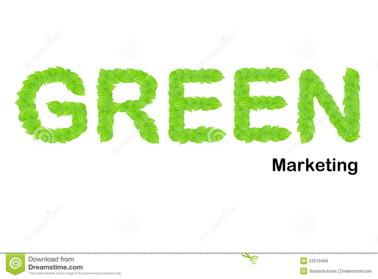 Green Marketing Word Made Up From Green Leafs Royalty Free