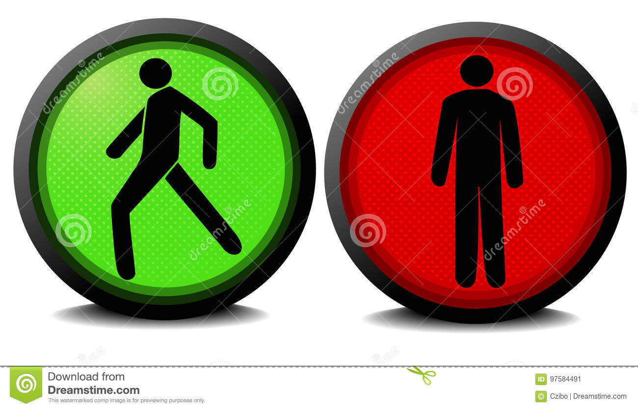 Green And Red Traffic Lights Stock Vector