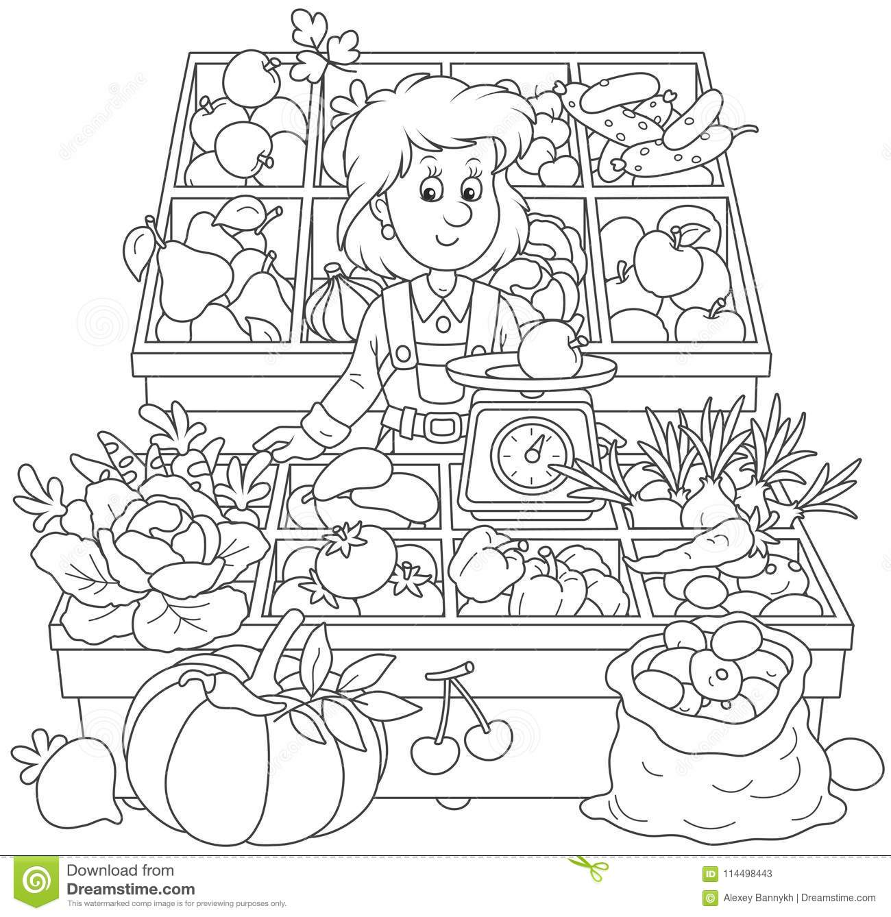 Greengrocer In A Market Stock Vector Illustration Of Page