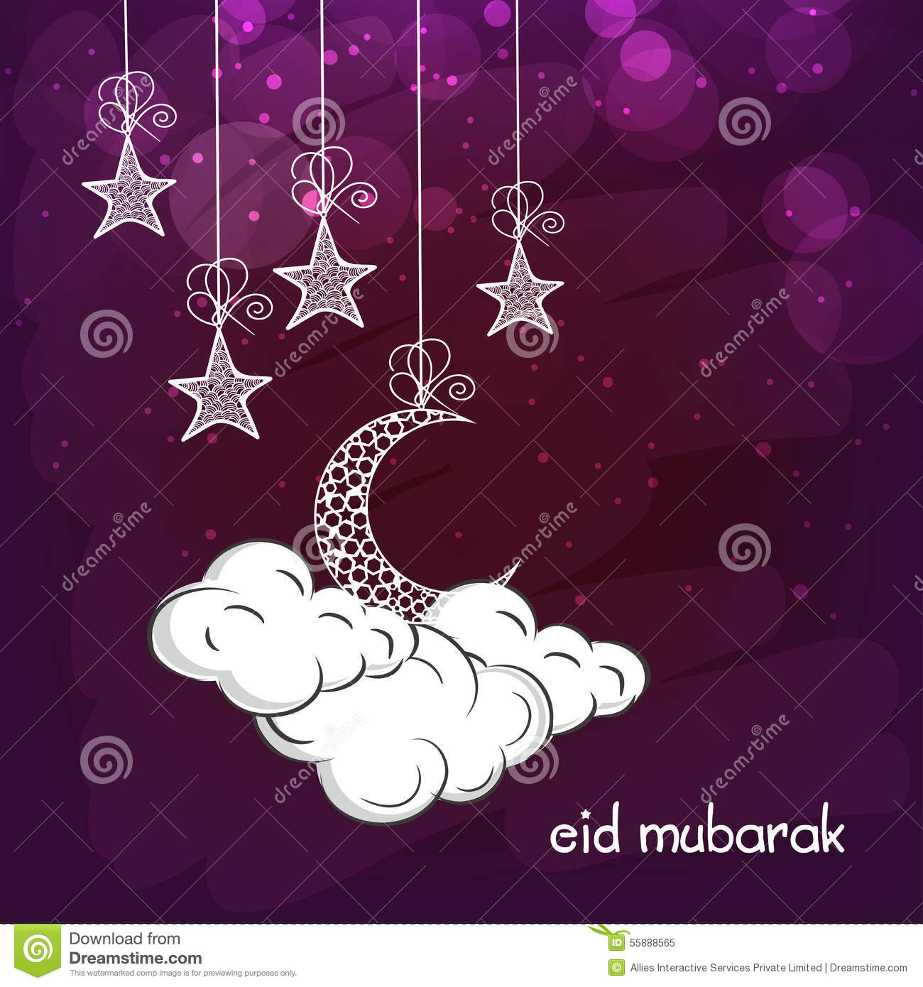 Greeting Card With Moon And Star For Eid Stock