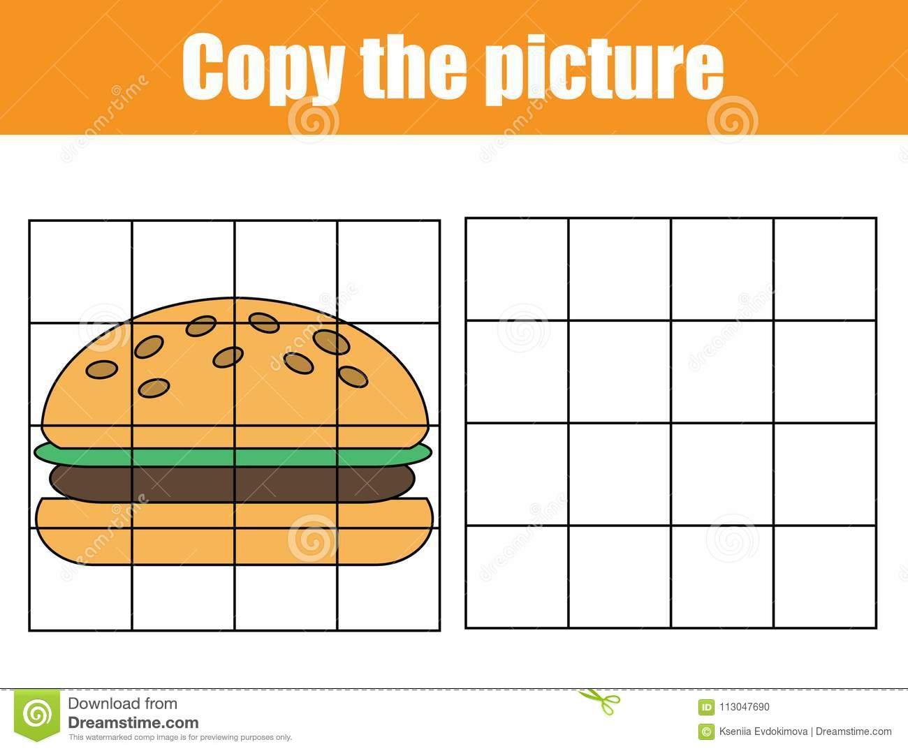 Grid Copy Worksheet Educational Children Game Printable Kids Activity Sheet With Yummy Burger