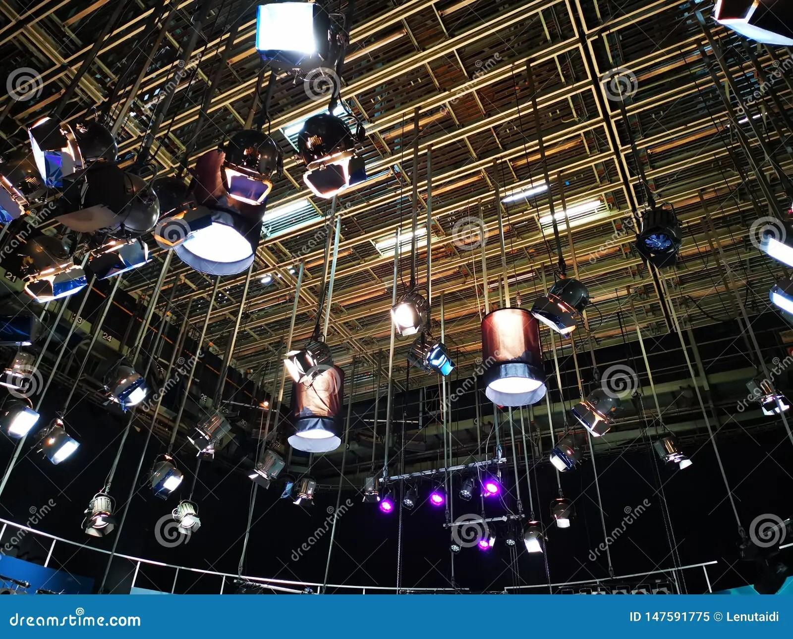 https www dreamstime com grid lights television studio professional lighting fixtures broadcasts image147591775