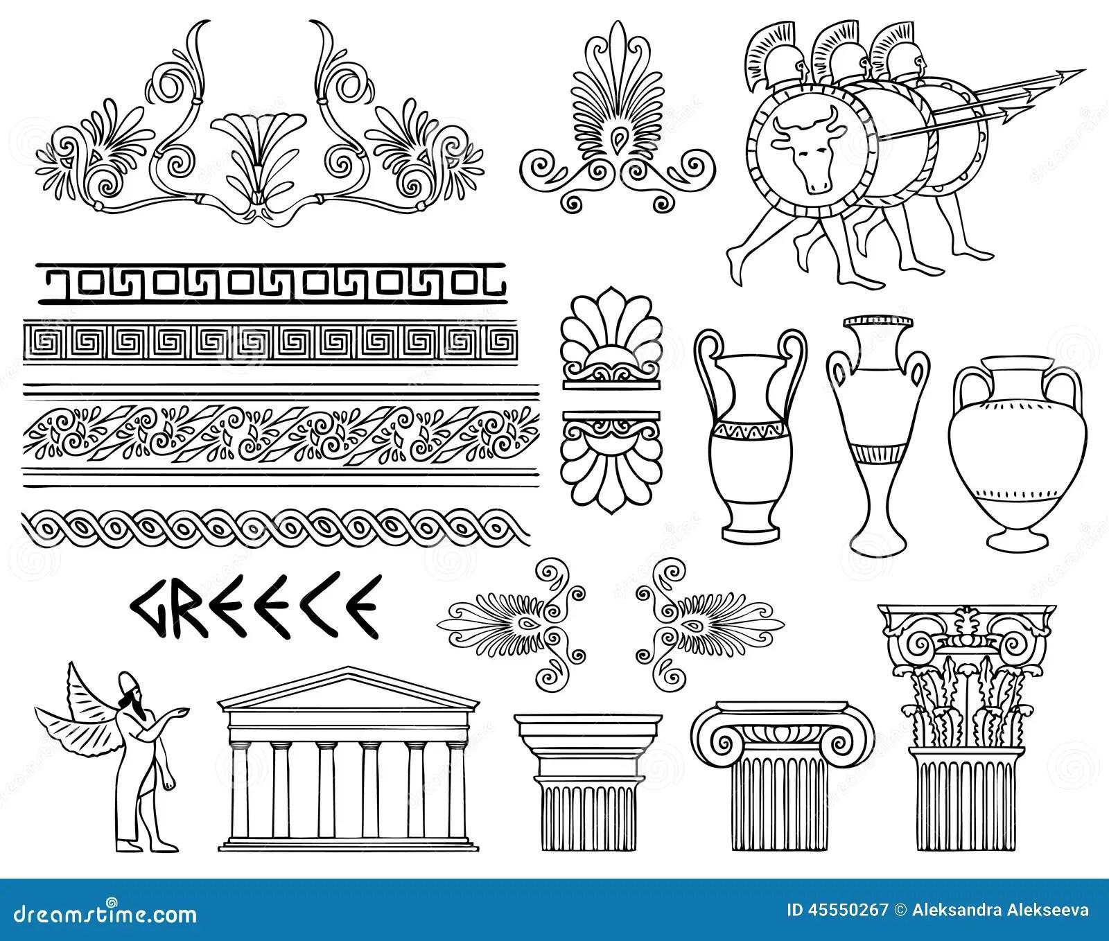 Griechenland Architektur Und Verzierungen Eingestellt