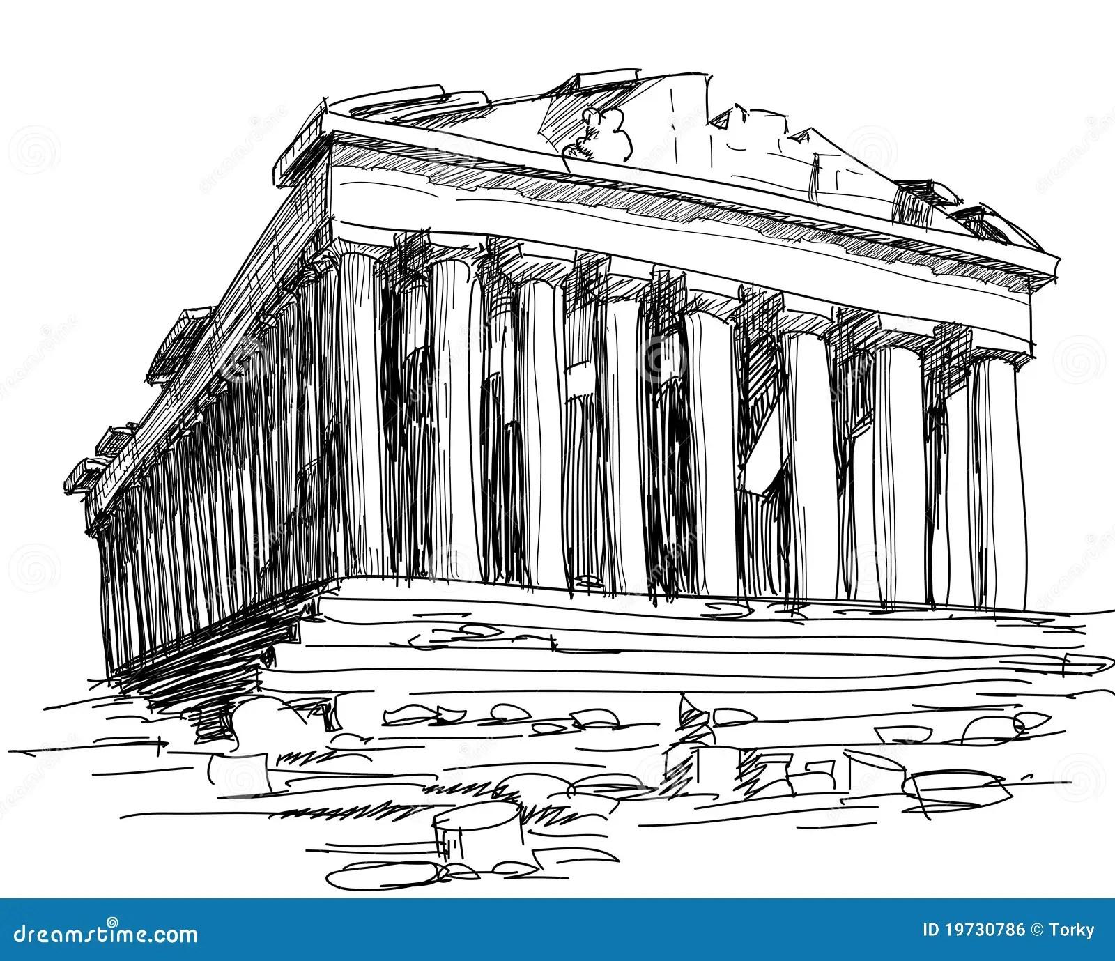 Griechenland Parthenonskizze Vektor Abbildung
