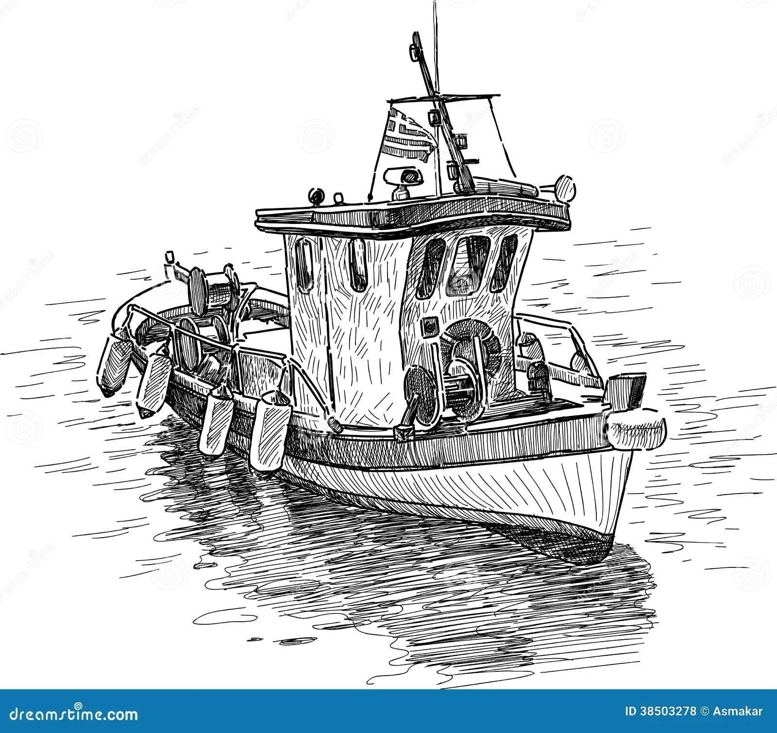 Griechisches Fischerboot Vektor Abbildung Illustration