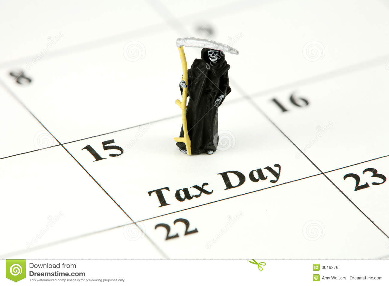 Grim Reaper On Tax Day Royalty Free Stock Image