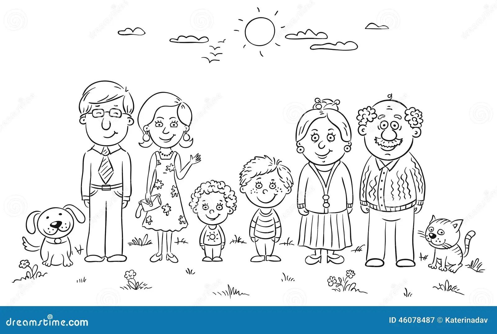 Gro E Gluckliche Familie Vektor Abbildung