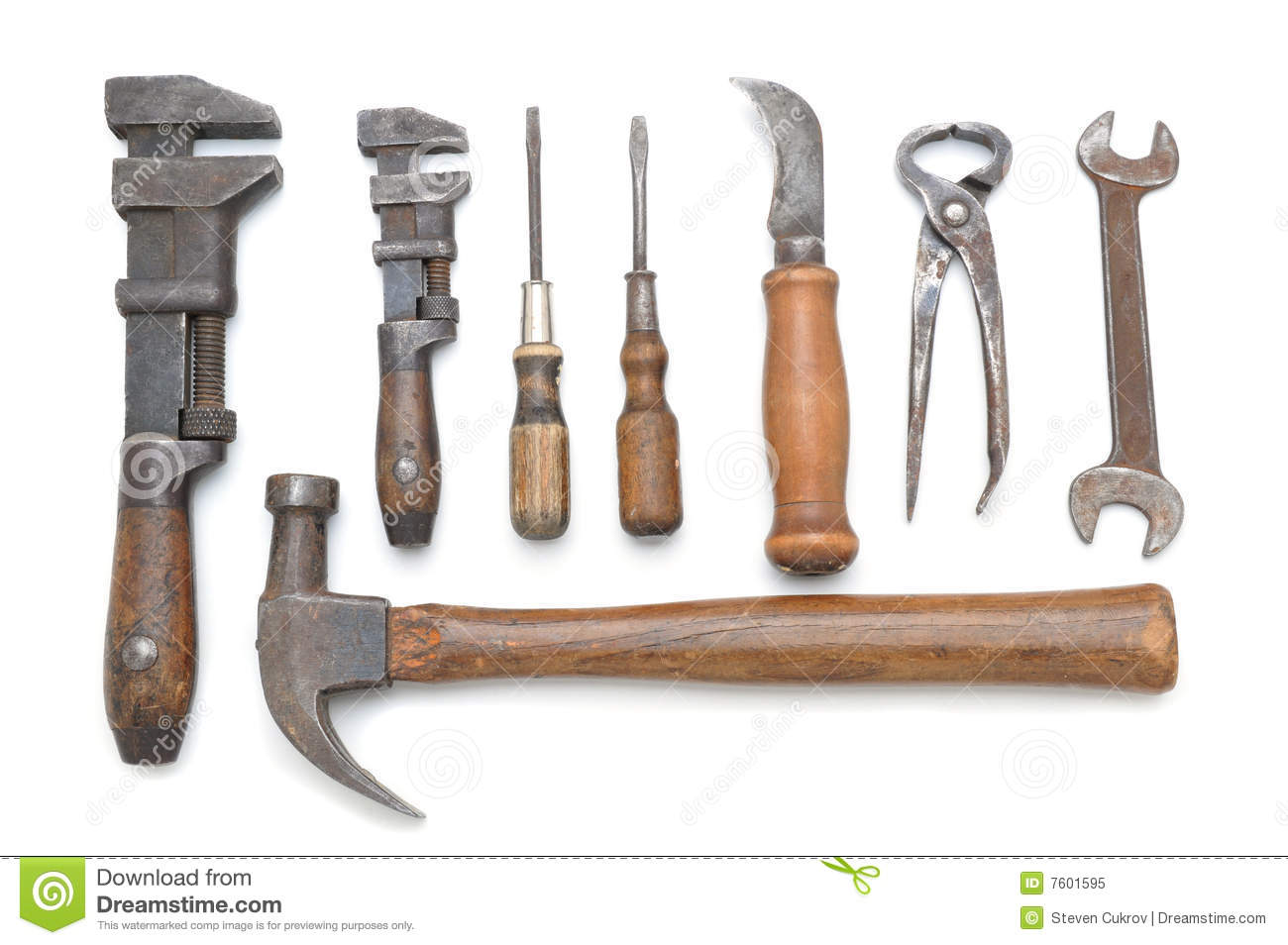 Group Of Antique Tools Stock Image Image Of White Metal