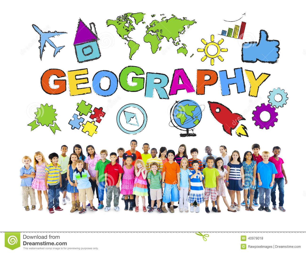Group Of Children And Geography Concept Stock Photo
