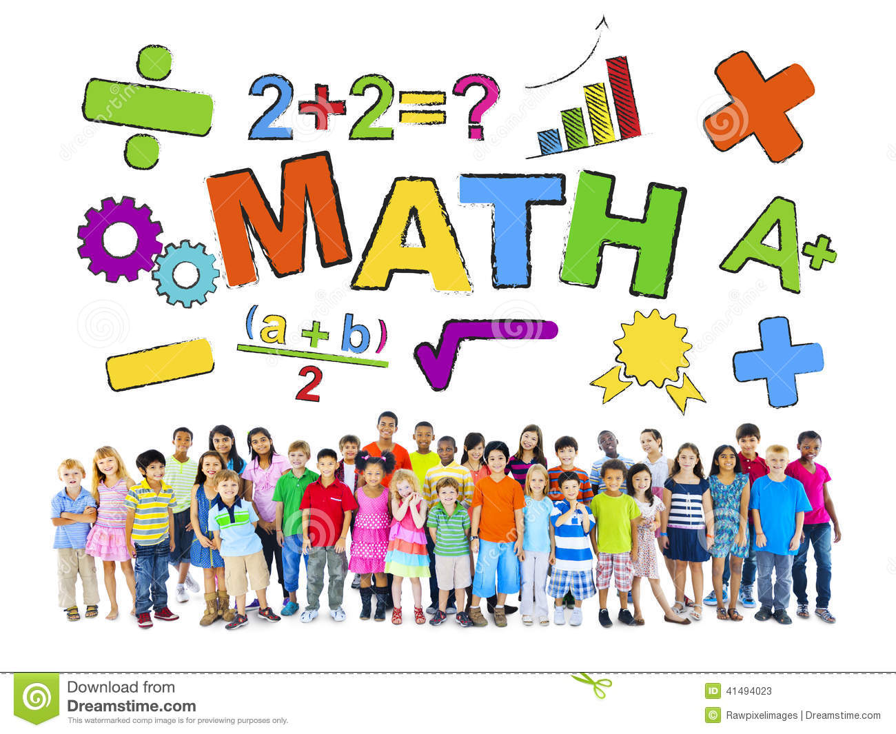 Group Of Children And Mathematic Concept Stock Image