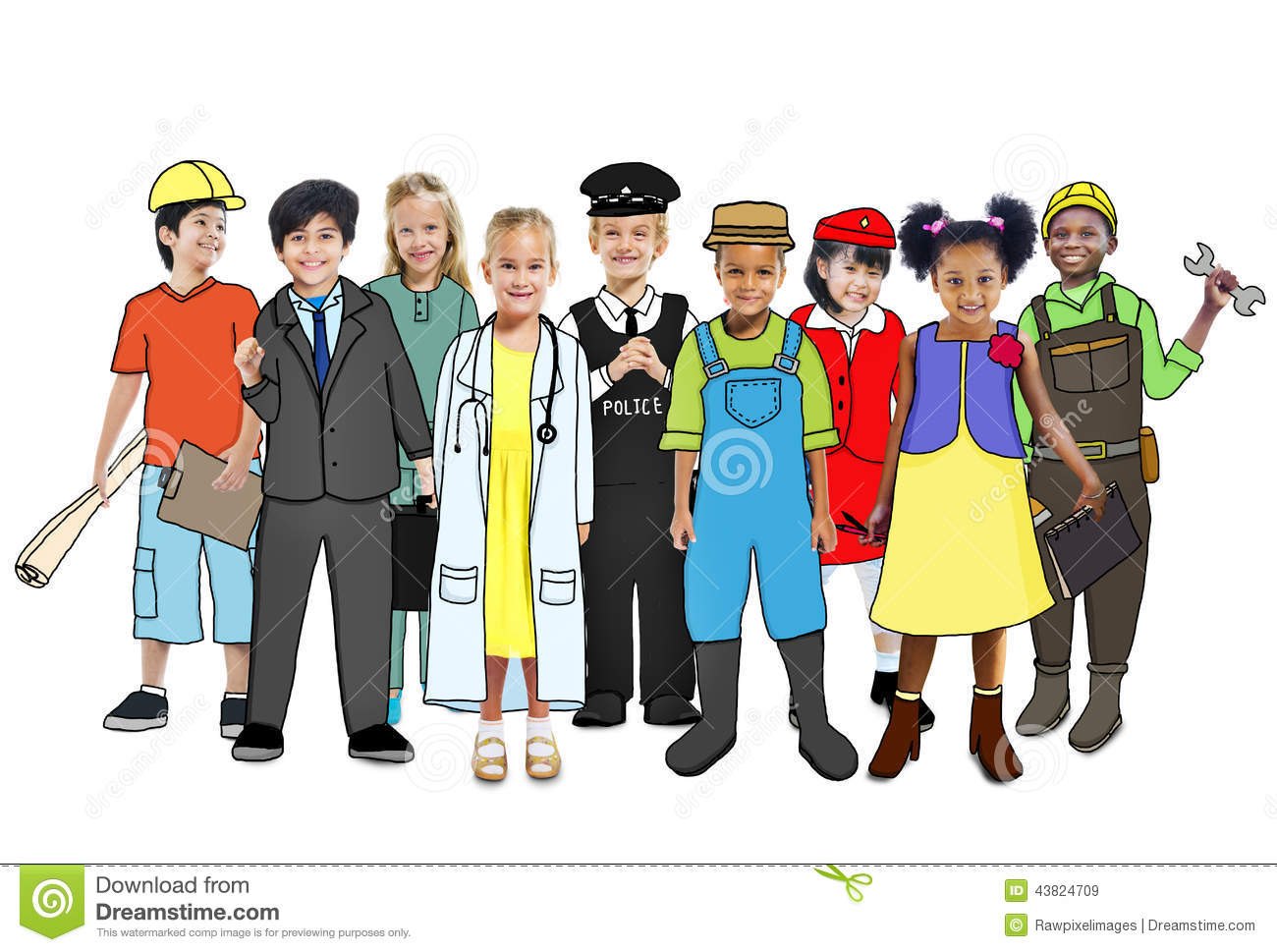 Group Of Children With Various Occupations Concept Stock