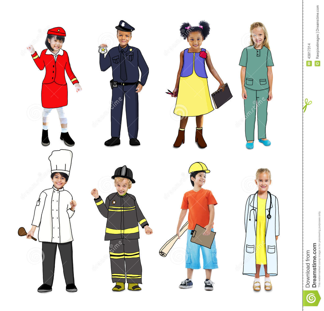 Group Of Children Wearing Future Job Uniforms Stock