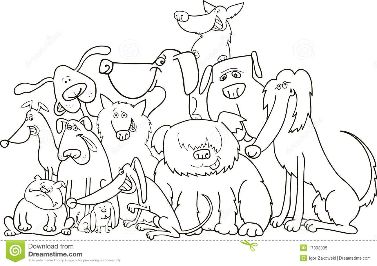 Group Of Dogs For Coloring Stock Vector Illustration Of