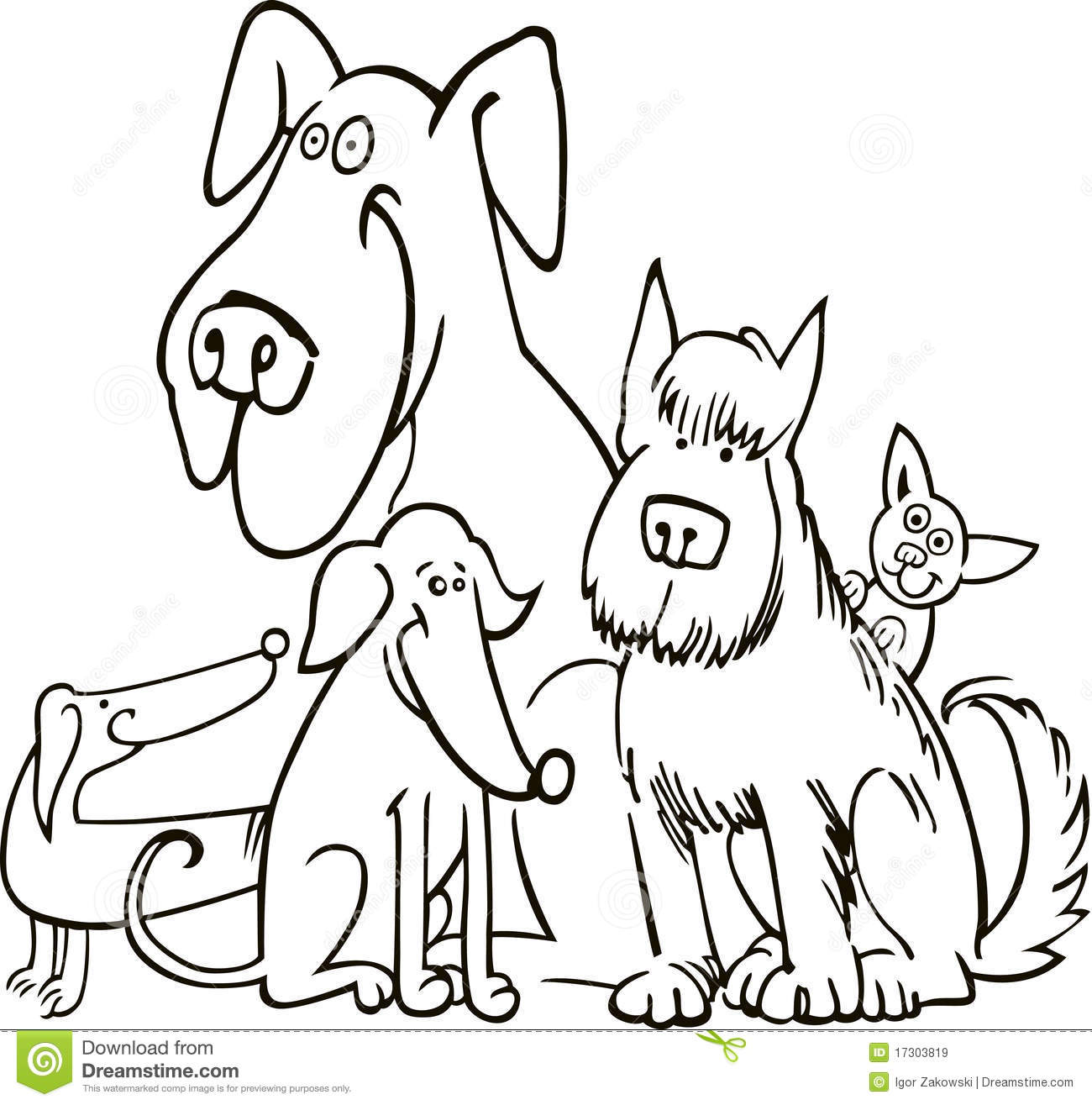 Group Of Five Dogs For Coloring Royalty Free Stock Images
