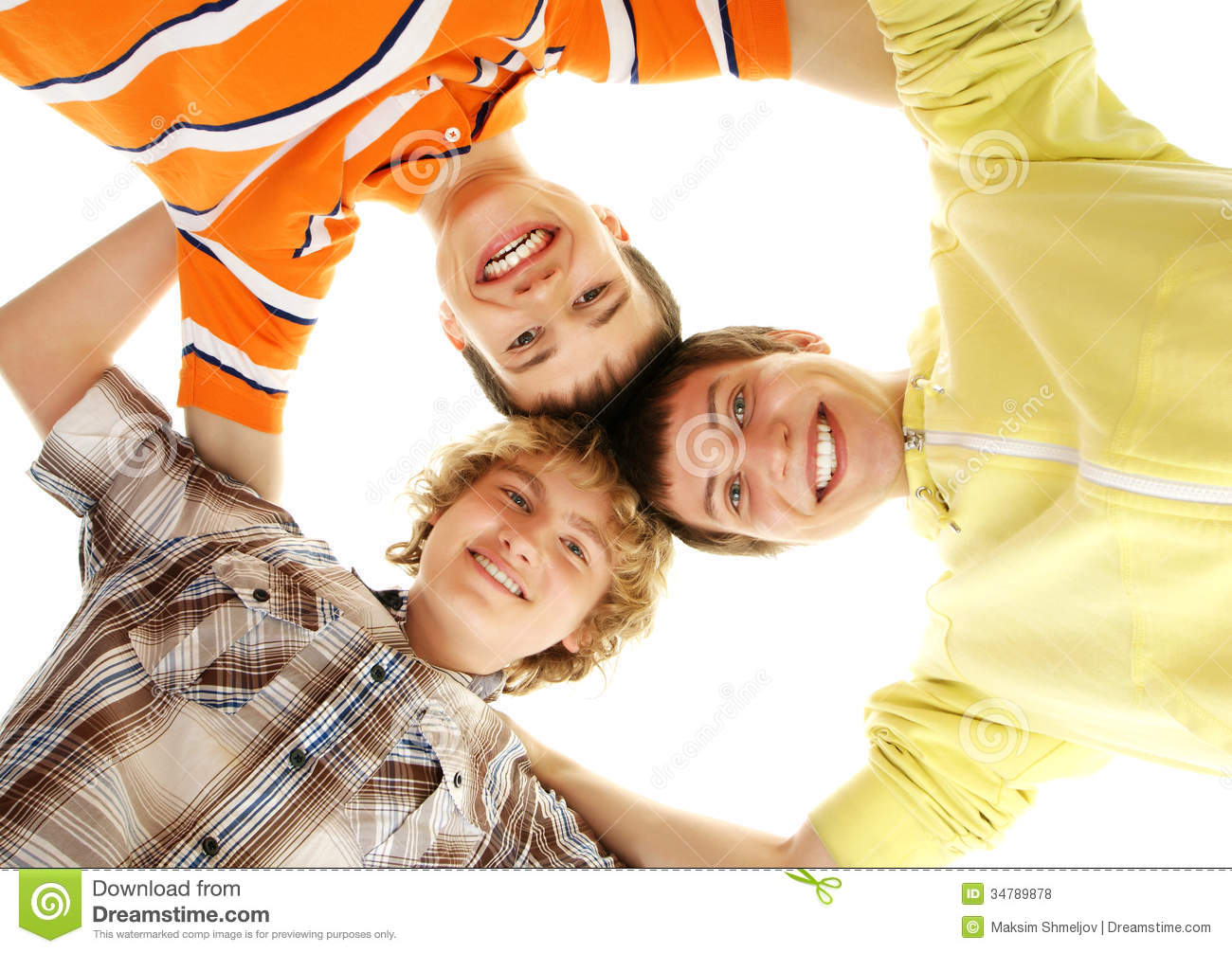 A Group Of Happy Teenage Boys On A White Background