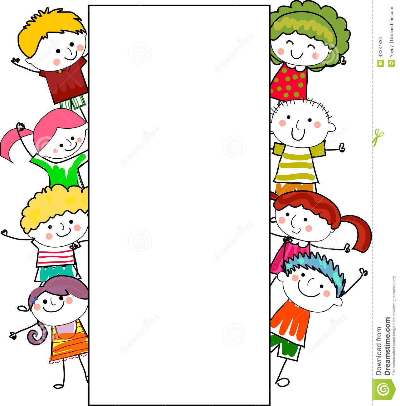 Group Of Kids Frame Stock Vector Illustration Of Comic