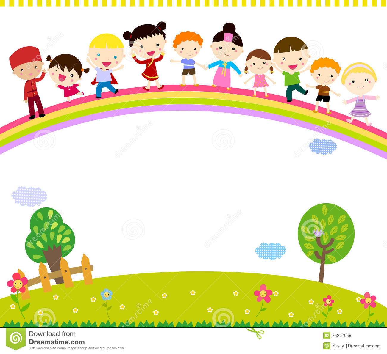 Group Of Kids Standing On The Rainbow Stock Vector