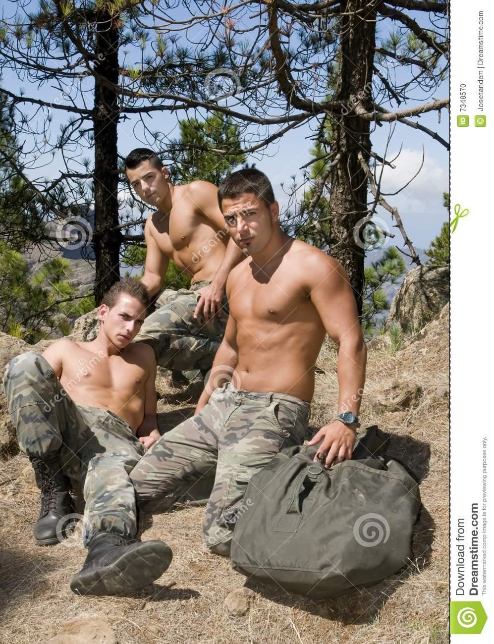Group Of Military Men After The War Stock Photo Image