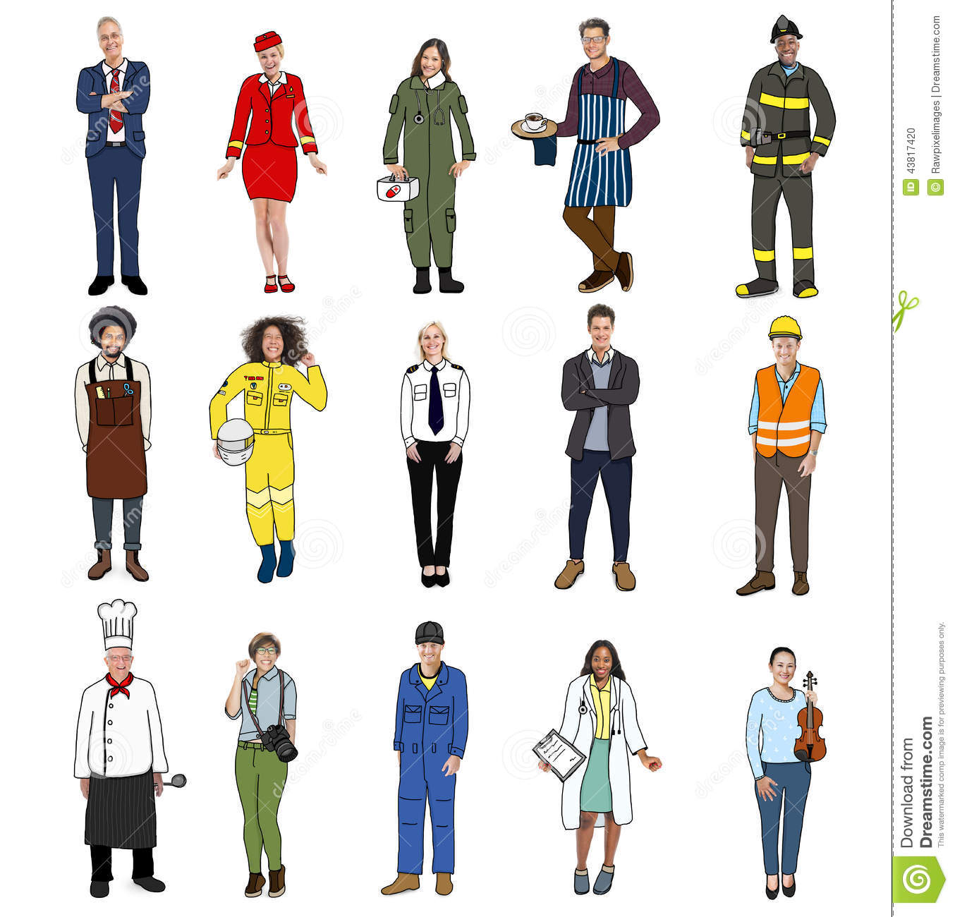 Group Of Multiethnic People With Different Jobs Stock